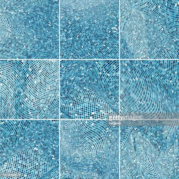 ベクトルブルーハーフトーンドット波パターン背景コレクション - ペーズリー点のイラスト素材/クリップアート素材/マンガ素材/アイコン素材