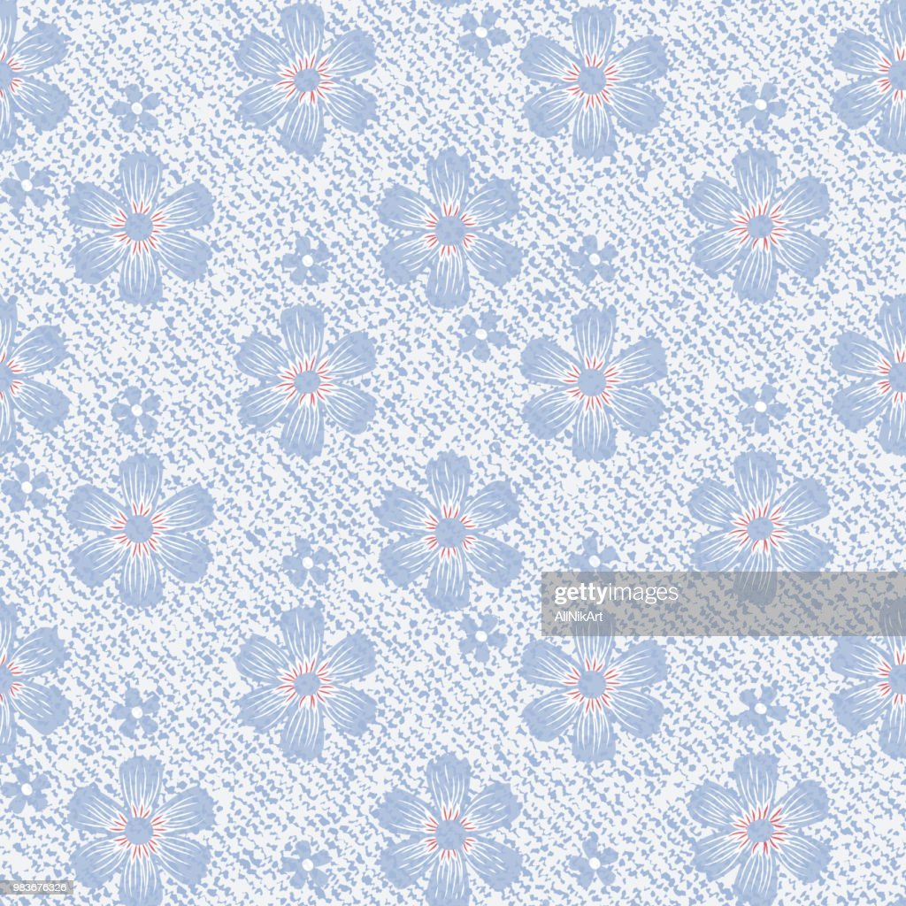 Vector Blue Jeans background with flowers. Daisies seamless pattern. Denim floral wallpaper