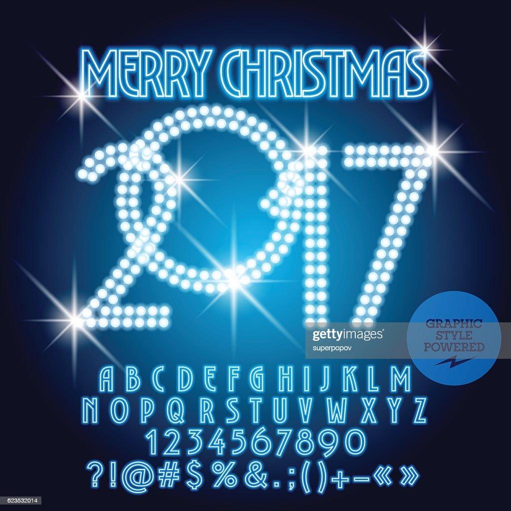 Vector Blue Light Up Merry Christmas 2017 Greeting Card Vector Art