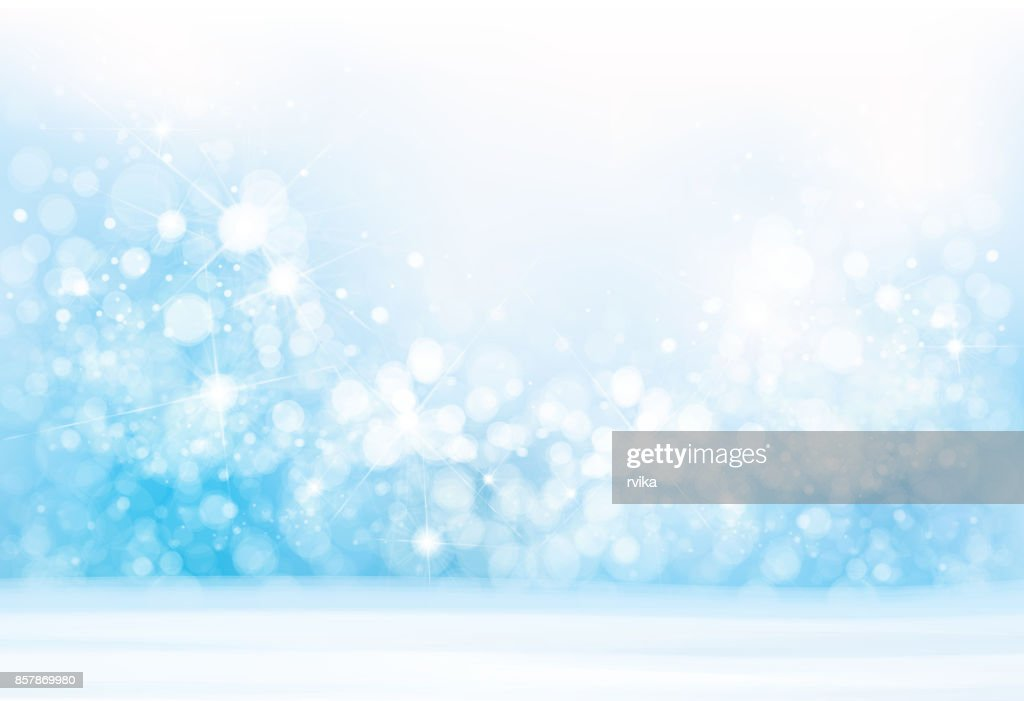Vector blue  lights, snow  background.