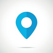 Vector blue map pointer, map pin icon. Modern flat design vector illustration. Vector icon