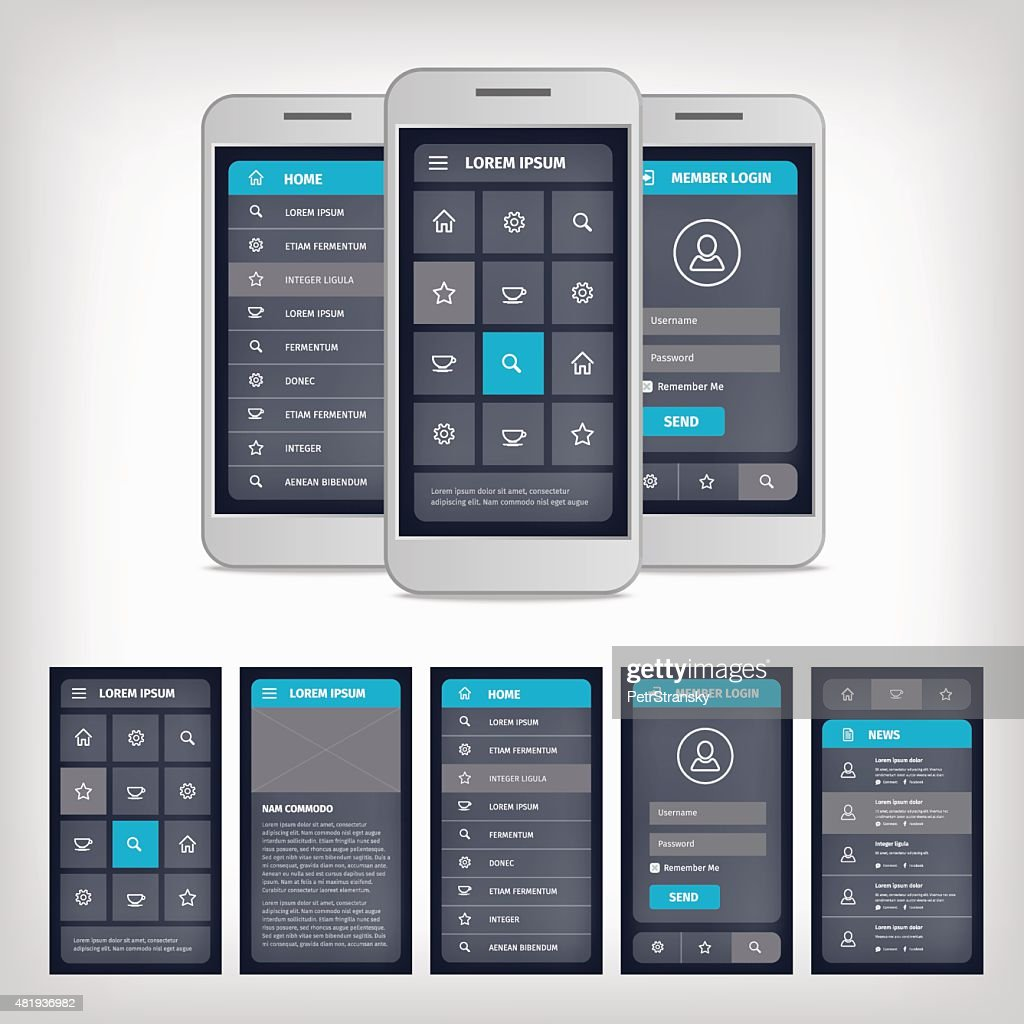 vector blue mobile user interface