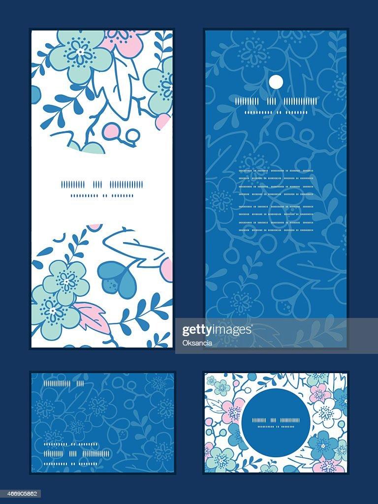 Vector blue pink kimono blossoms vertical frame pattern invitation greeting
