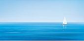 Vector blue sea and yacht.
