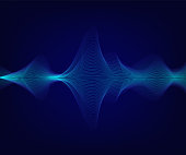 Vector blue shiny sound wave on dark blue background. Tecnology illustration.