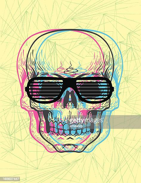 vector - blurry skull with shutter shaids