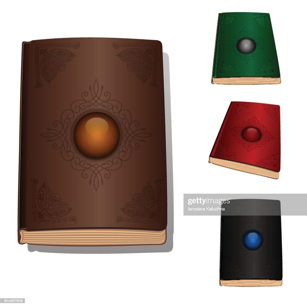 Vector book with ornament and jewelery stone