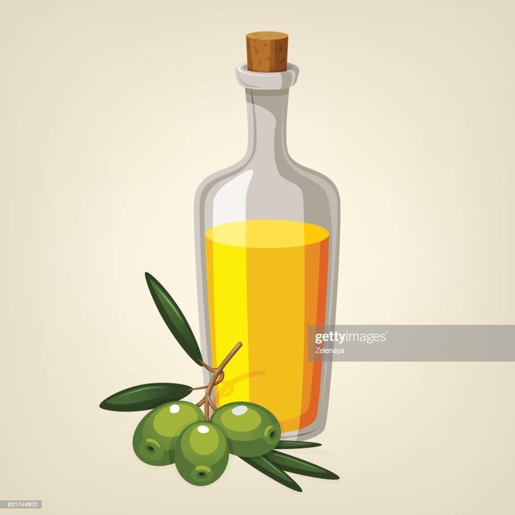 Vector bottle of olive oil with a branch of green olives. Cartoon style icon. Restaurant menu illustration.