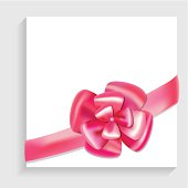 Vector bow and ribbon on white blank