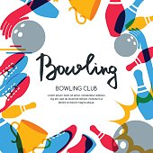 Vector bowling square banner, poster or flyer design template.