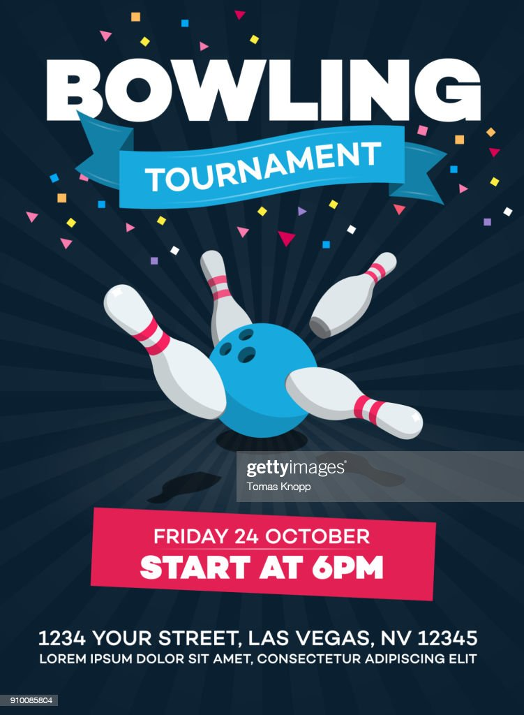Vector bowling tournament poster with scattered skittle and bowling ball