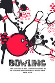 Vector bowling tournament watercolor illustration. Poster, banner, or flyer design template.