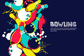 Vector bowling watercolor illustration. Balls and pins on colorful splash background. Design for banner, poster or flyer