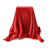 Vector box covered with red silk cloth