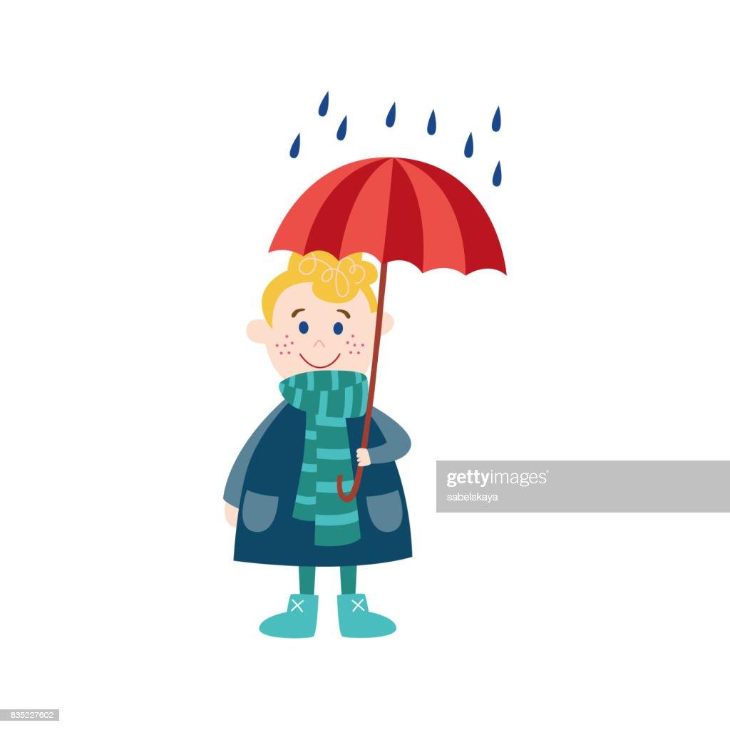 vector boy keeping umbrella in hand under rain