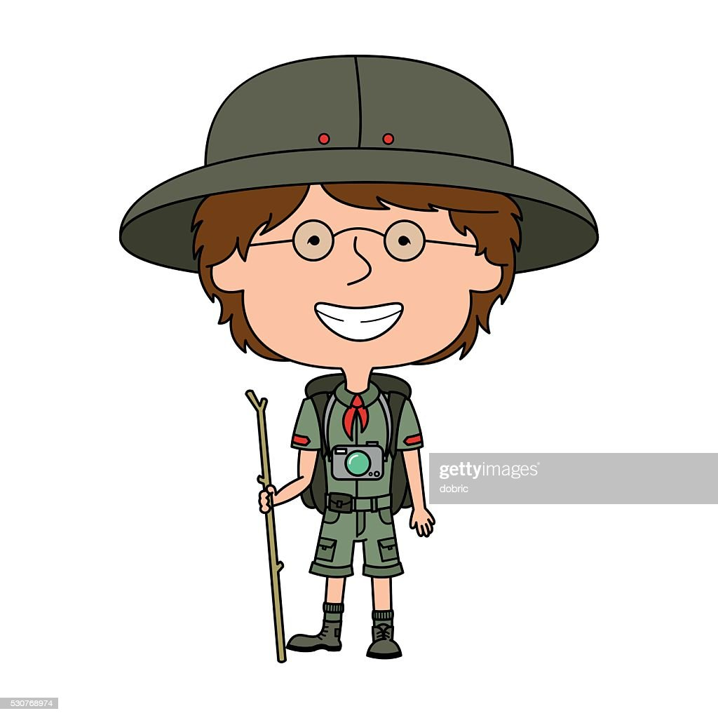 Vector boy scout standing with wooden stick