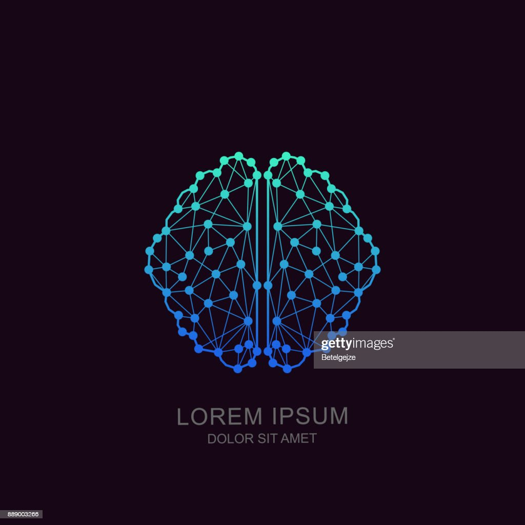 Vector brain icon, emblem design. Concept for neural networks, artificial intelligence, education, high technology