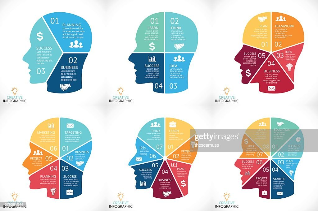 Vector brain infographics set. Template for human head diagram, graph