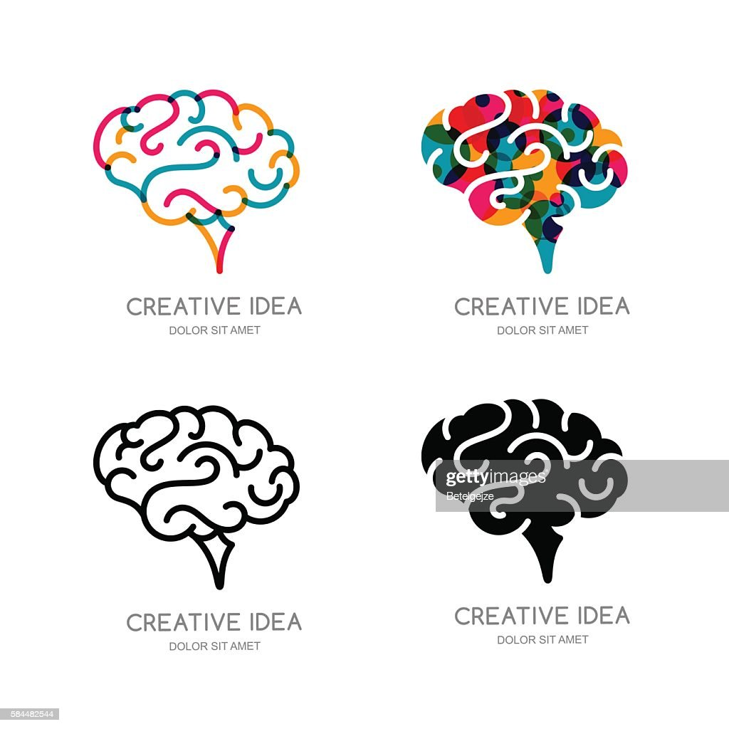 Vector brain sign, or emblem design elements. Outline human brain.