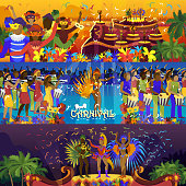Vector brazil carnival rio festival celebration brazilian girls dancers samba party carnaval traditional costume south holiday dancer illustration banner