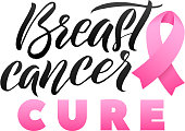 Vector Breast Cancer Awareness Calligraphy Poster Design. Stroke Pink Ribbon. October is Cancer Awareness Month