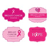Vector Breast Cancer Awareness Ribbons and Badges or labels.