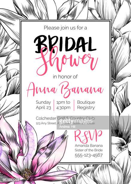 Vector Bridal Shower Invitation Template With Magnolia Flowers,  Watercolor and Pen and Ink Elements