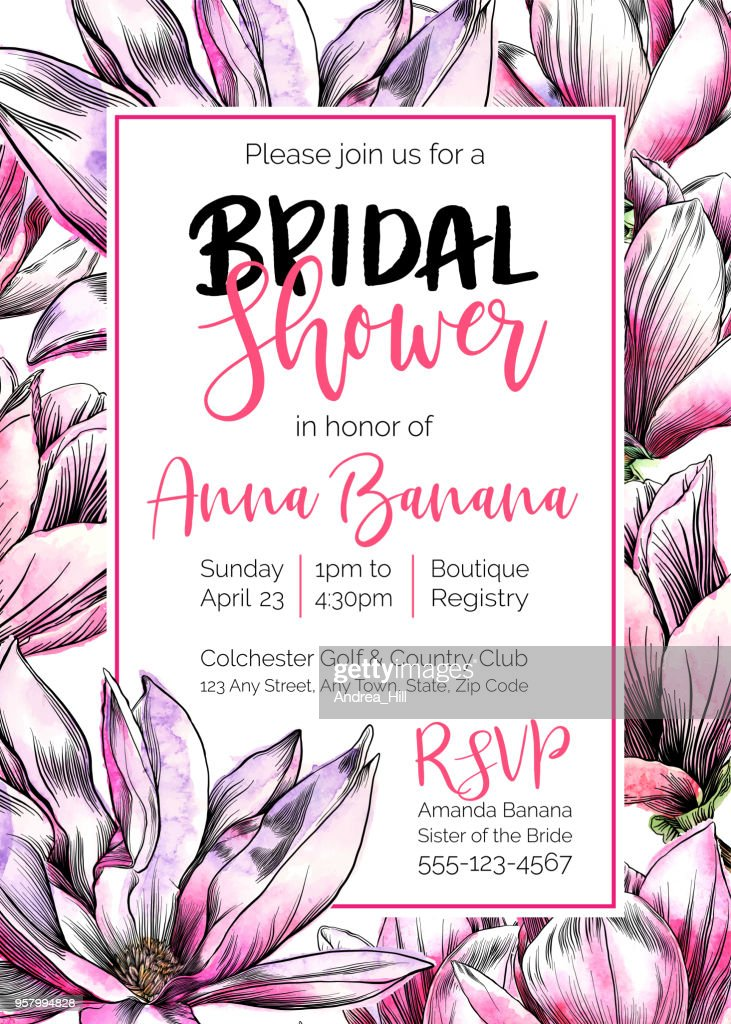vector bridal shower invitation template with magnolia flowers watercolor and pen and ink elements