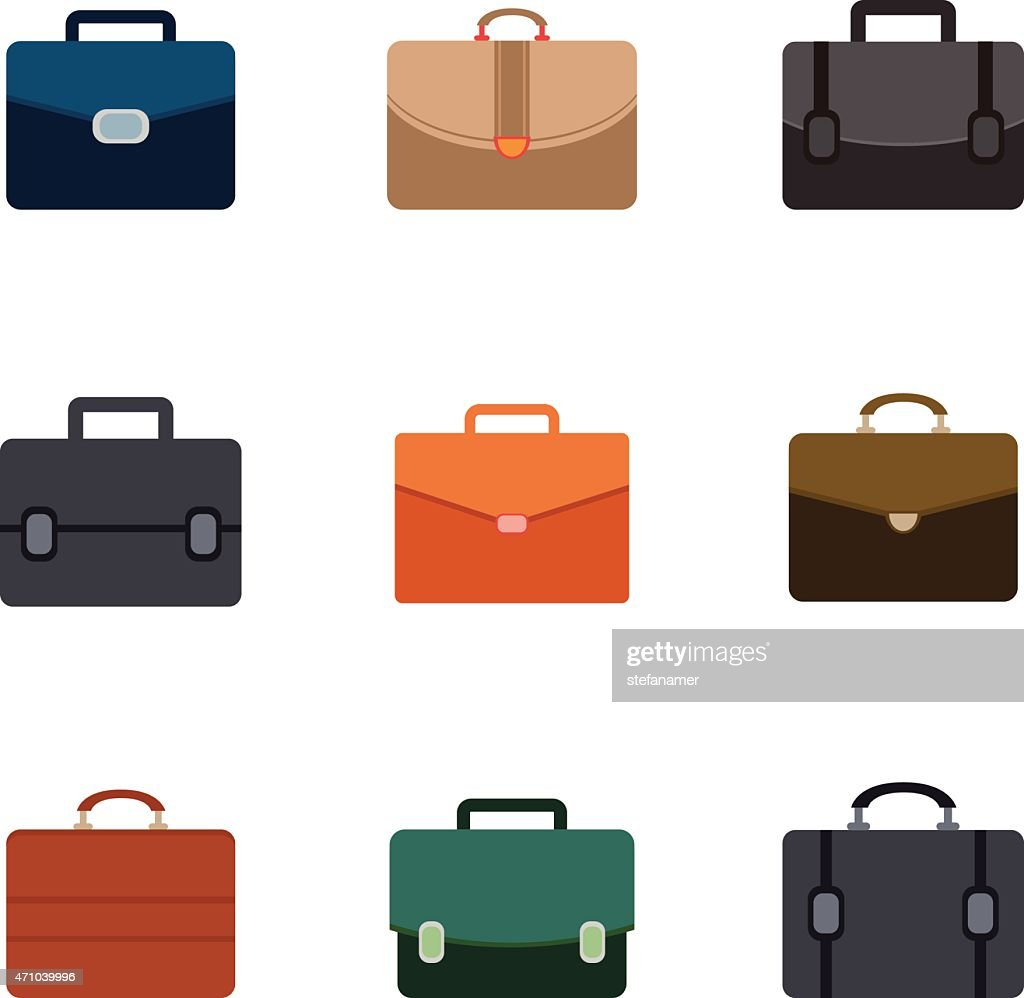 Vector briefcase icons set on white background