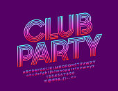 Vector bright banner Club Party with Gradient color Font