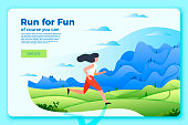 Vector bright banner template with running girl