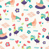 Vector Bright Chickens White Background Seamless Pattern Background.
