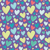 Vector Bright Colorful Hearts Purple Seamless Pattern