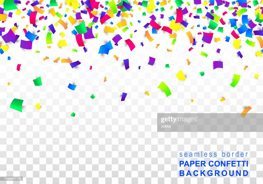 Vector Bright Colorful seamless border of scattered paper confetti isolated on transparent white background. Falling gradient  particles for Carnival, Mardi Gras decoration.