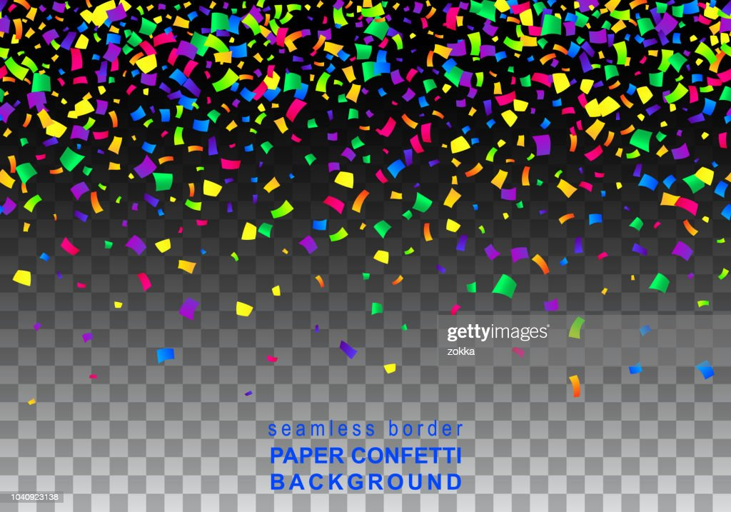 Vector Bright Colorful seamless border of scattered paper confetti  isolated on transparent black background. Falling gradient  particles for Carnival decoration.