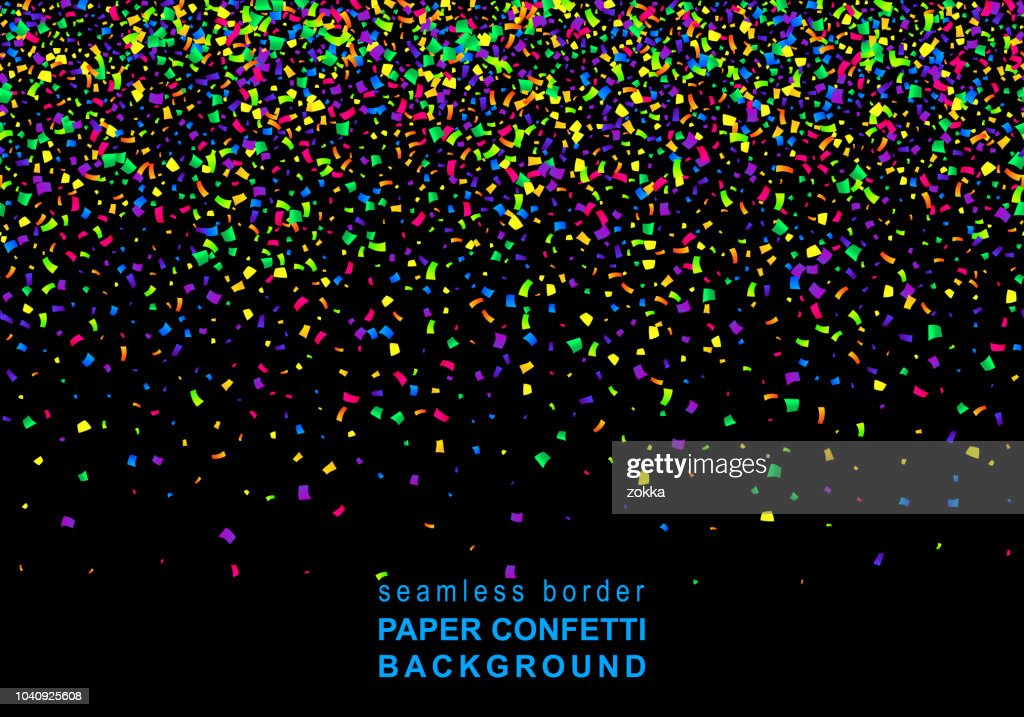 Vector Bright Colorful seamless border of scattered paper confetti isolated on black background. Falling gradient  particles for Carnival, Mardi Gras decoration.