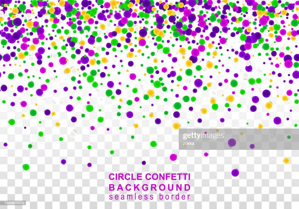 Vector Bright Colorful seamless border of scattered round confetti isolated on transparent white background. Falling gradient  particles for Carnival, Mardi Gras decoration.