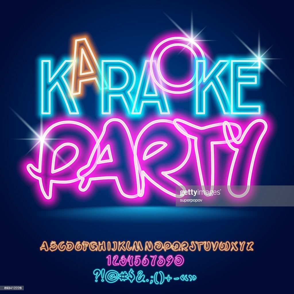 Vector bright light up neon poster Karaoke Party