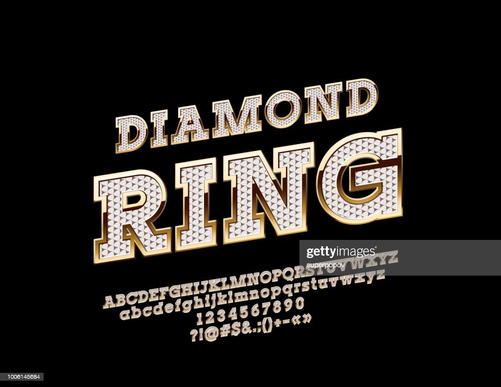 Vector brilliant and golden logo Diamond Ring with Alphabet