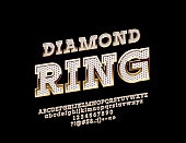 Vector brilliant and golden logo Diamond Ring with Alphabet