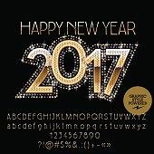 Vector brilliant glitter Happy New Year 2017 greeting card