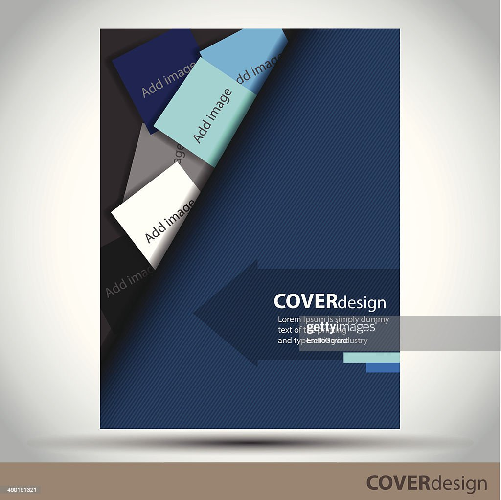Vector brochure, flyer, cover design template with blue background