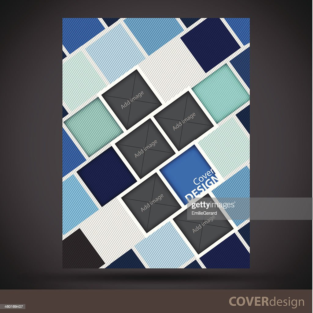 Vector brochure, flyer, cover design template with blue blocks
