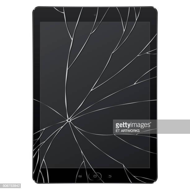 vector broken digital tablet - cracked stock illustrations
