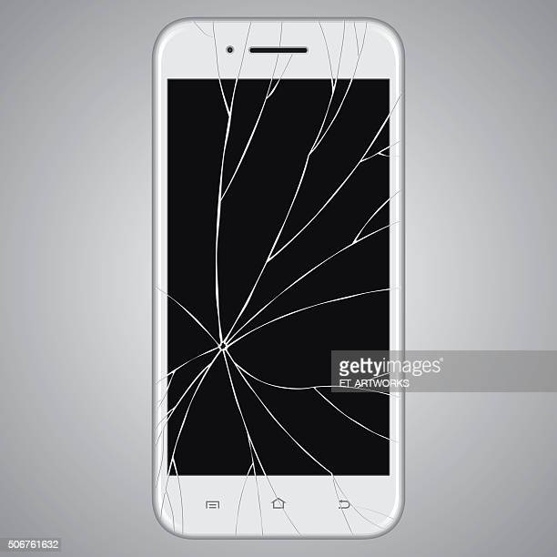 vector broken smart phone - broken stock illustrations, clip art, cartoons, & icons