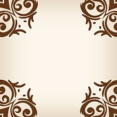 Vector brown frame/border in damask baroque style
