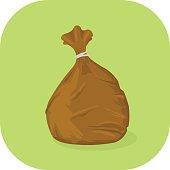 Vector Brown Garbage Bin Bag Icon.