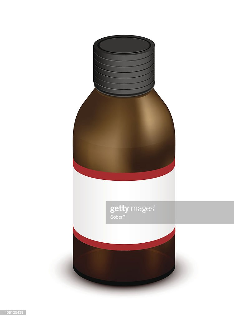 Vector brown medicine bottle isolated on white.