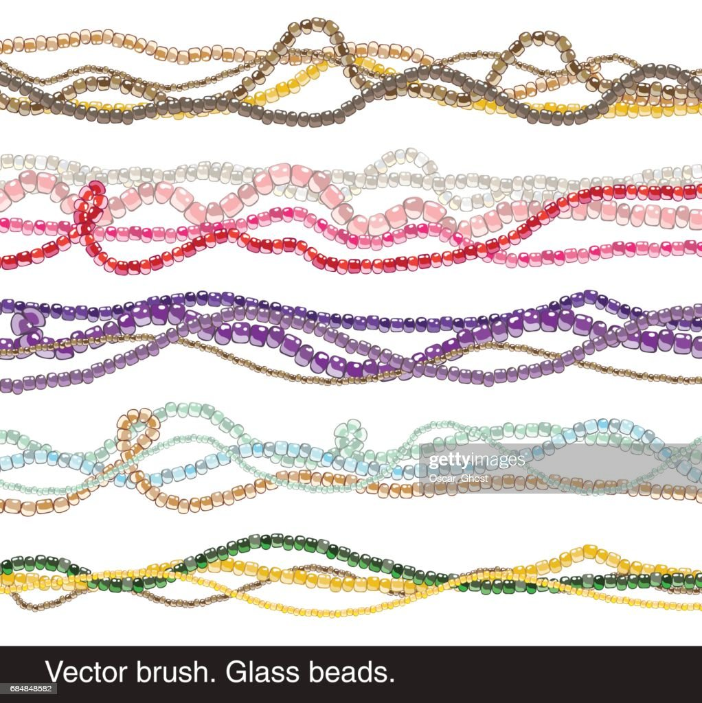 Vector brush. Glass beads. Necklace