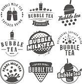 Vector bubble tea symbols.